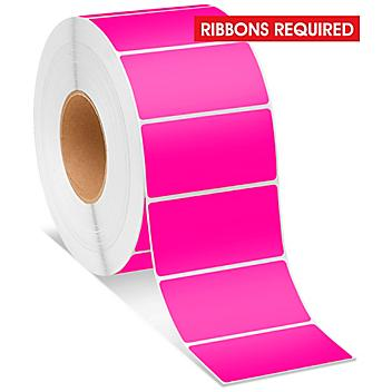"""Industrial Thermal Transfer Labels - Fluorescent Pink, 4 x 2"""", Ribbons Required S-8597P"""