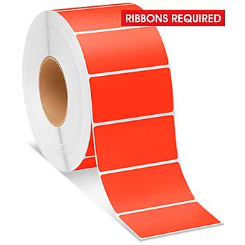 """Industrial Thermal Transfer Labels - Fluorescent Red, 4 x 2"""", Ribbons Required S-8597R"""