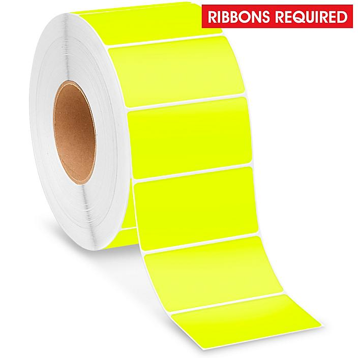 """Industrial Thermal Transfer Labels - Fluorescent Yellow, 4 x 2"""", Ribbons Required S-8597Y"""