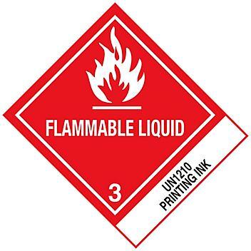 """D.O.T. Labels - """"Flammable Liquid Printing Ink UN 1210"""", 4 x 4 3/4"""" S-886"""
