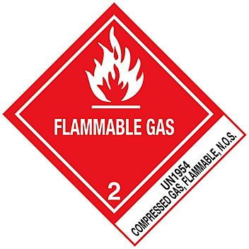 """D.O.T. Labels - """"Flammable Gas Compressed Gas UN 1954"""", 4 x 4 3/4"""" S-892"""