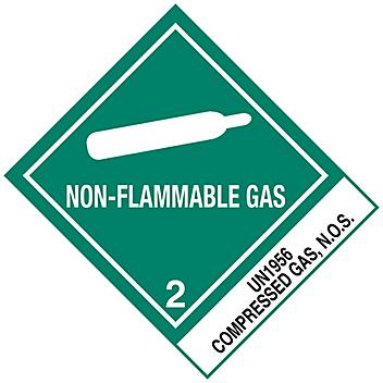 """D.O.T. Labels - """"Non-Flammable Gas Compressed Gas, N.O.S. UN 1956"""", 4 x 4 3/4"""" S-893"""