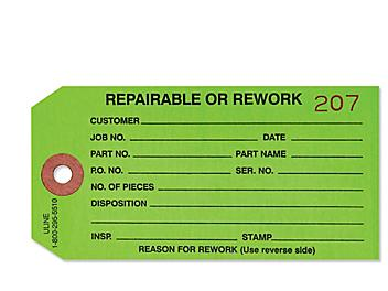 """Inspection Tags - """"Repairable/Rework"""", Green S-929G"""