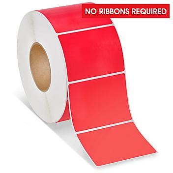 """Industrial Direct Thermal Labels - Red, 4 x 3"""" S-9628R"""