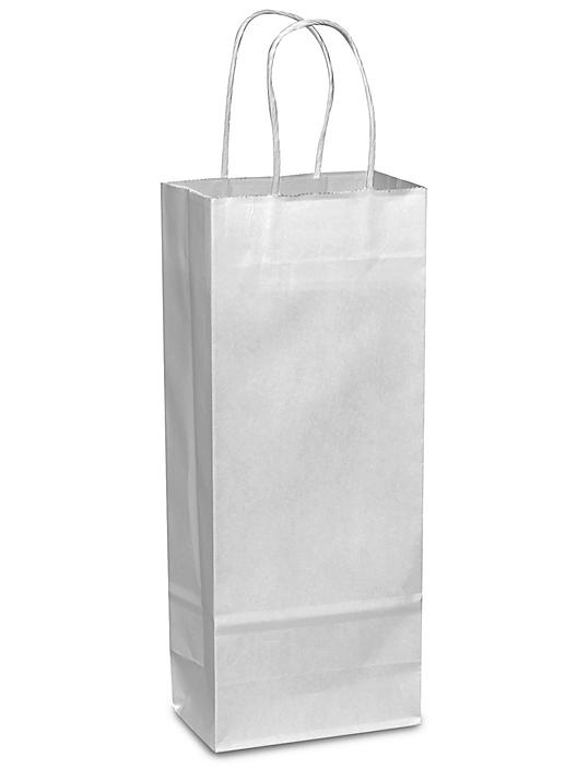 """White Paper Shopping Bags - 5 1/2 x 3 1/4 x 13"""", Wine S-9664"""