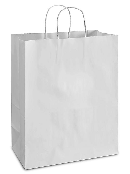 "White Paper Shopping Bags - 13 x 7 x 17"", Mart S-9667"
