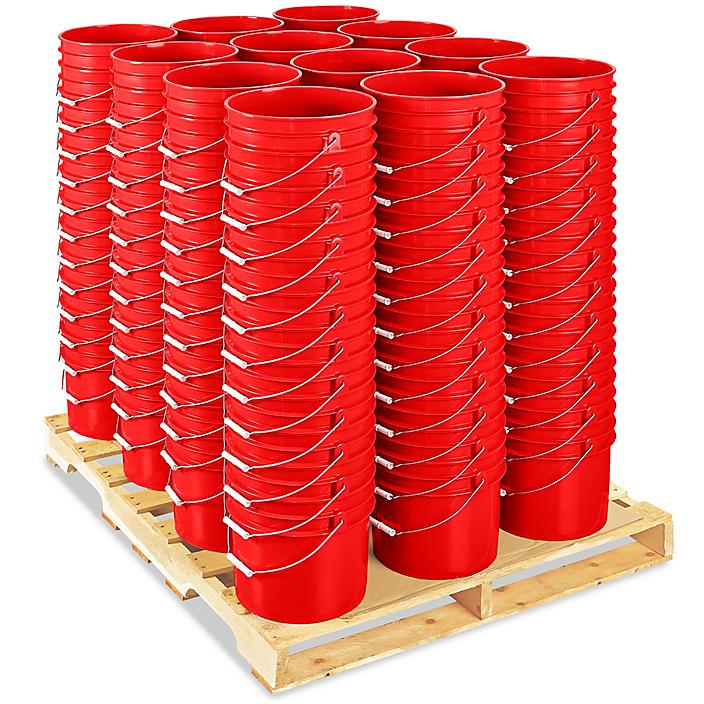 Plastic Pail Skid Lot - 3.5 Gallon, Red S-9942RS