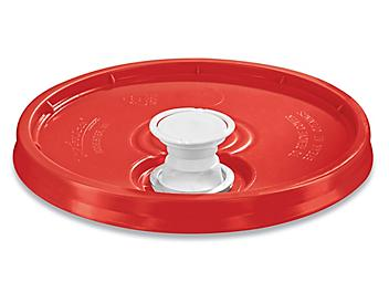 Lid with Spout for 3.5, 5, 6 and 7 Gallon Plastic Pail - Red S-9943R