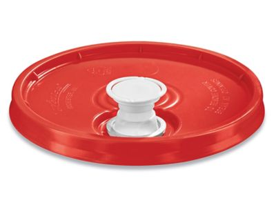 Lid with Spout for 3.5, 5, 6 and 7 Gallon Plastic Pail - Red
