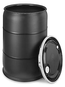 Plastic Drum with Lid - 55 Gallon, Open Top, Black S-9945BL