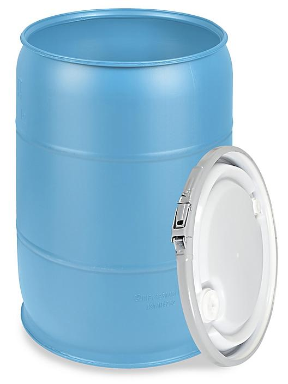 Plastic Drum with Lid - 55 Gallon, Open Top, Blue S-9945BLU