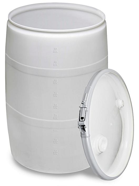 Plastic Drum with Lid - 55 Gallon, Open Top, Natural S-9945NAT