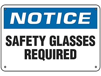 """""""Safety Glasses Required"""" Sign - Aluminum S-9962A"""