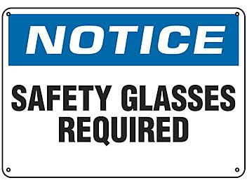 """""""Safety Glasses Required"""" Sign - Plastic S-9962P"""
