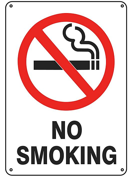 """No Smoking"" Sign - Plastic S-9963P"