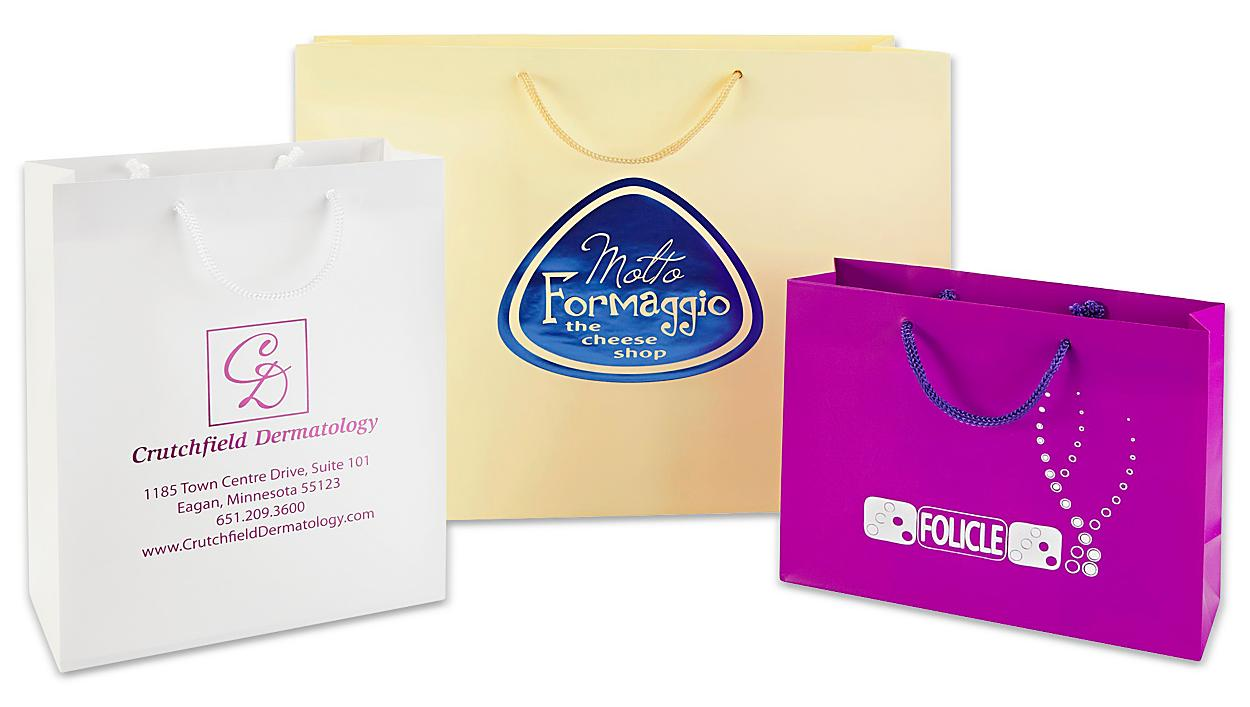 Custom Printed Hot Stamp Matte Laminate Shopping Bags